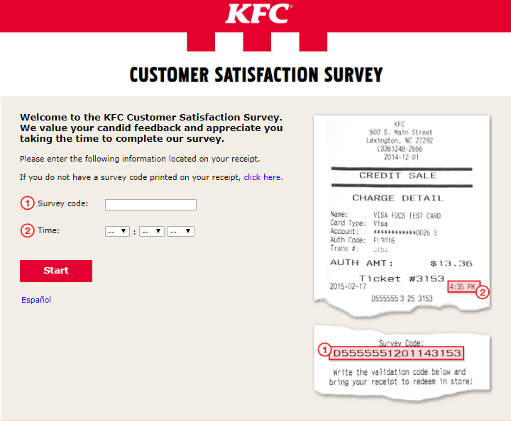 KFC survey homepage