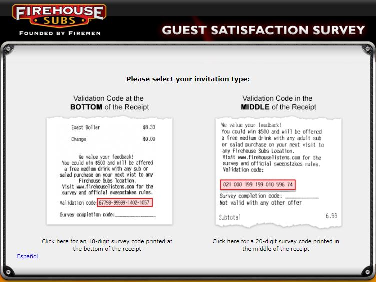 Firehouse subs survey homepage