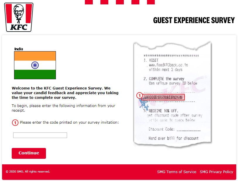 KFC Survey India Homepage