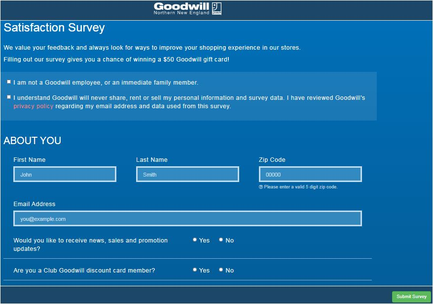 Goodwill Survey